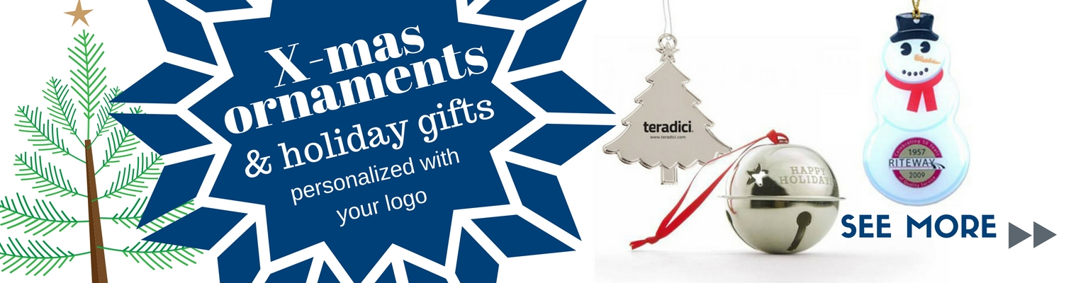 Personalized Christmas ornaments & holiday gifts with your logo.
