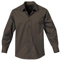 Hotlist Men's Metro Easy Care L/S Twill Shirt - Brown & White only