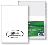 "Econo White Vinyl Wallet business card holder, open size (3.875"" x 5.375"") closed size (3.875"" x 2.625"") screen-printed"