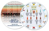 "White Vinyl 2-Wheel wine & food pairing (6"" dia.) 4CP front & back"