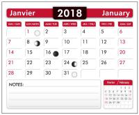 "12-page plus 1 year cover page cardboard back Bilingual (French/Engl.) 2017 Calendar Pads 2.875"" wide x 3.5"" long"