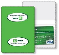 "Vinyl Wallet business card holder, open size (3.875"" x 5.375"") closed size (3.875"" x 2.625"") screen-printed"