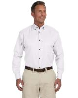 Harriton® Men's Tall Easy Blend TM Long-Sleeve Twill Shirt with Stain-Release