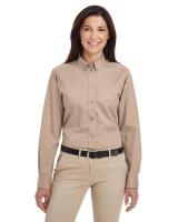 Harriton® Ladies' Foundation 100% Cotton Long-Sleeve Twill Shirt with TeflonTM