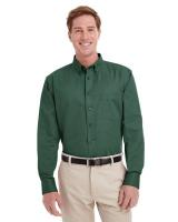 Harriton® Men's Foundation 100% Cotton Long-Sleeve Twill Shirt with TeflonTM