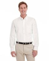 Harriton® Men's Tall Foundation 100% Cotton Long-Sleeve Twill Shirt with TeflonTM