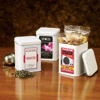 White Imprinted Canister with Cranberry Gold Trail Mix