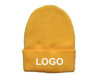 Knit Beanie With Cuff - Yellow