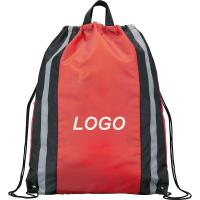 "Red Hunting String Backpack with 1"" Reflective Stripes - Grey"