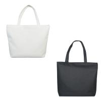 Canvas Tote Bag with Shoulder Strip and Zipper - Black