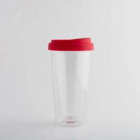 Borosilicate Glass- Hand Blown - Double wall Coffee Mug with Silicone Lid - 400 ML - DBG-C10-R