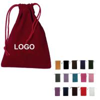 Big Drawstring Velvet Pouch - White