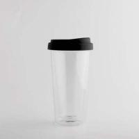 Borosilicate Glass- Hand Blown - Double wall Coffee Mug with Silicone Lid - 400 ML - DBG-C10-B
