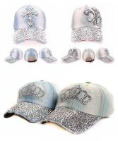 Blue Denim Hats with Lot Bling Beads Charm - Blue