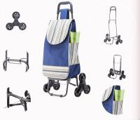 Foldable Shopping Trolley with Six Wheels - Blue