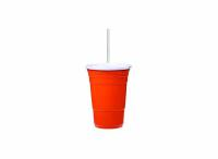 Red Cup Living - 24 oz Cup w/ Lid & Straw - Orange - 81239-ORAN