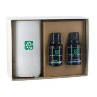 Electronic Diffuser with TWO Essential Oil; 15mL Dropper Bottles in Gift Box