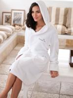 Hooded Coral Fleece Robe - Embroidered