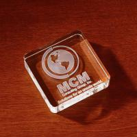 3D Crystal Square Paperweight - Small - Imprinted