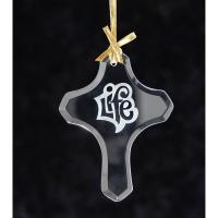 Cross Jade Glass Ornament - Etched Imprint