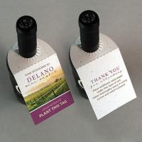 Seed Paper Wine Bottle Tag Without Fold Double Sided